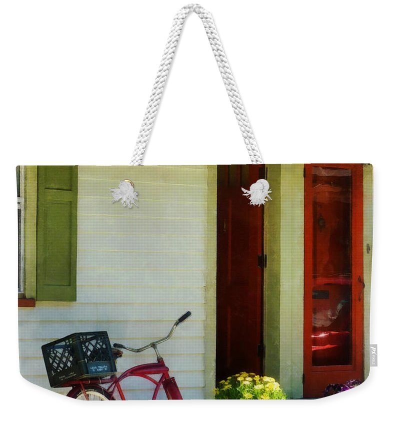 Bicycle Weekender Tote Bag featuring the photograph Delivery Bicycle By Two Red Doors by Susan Savad