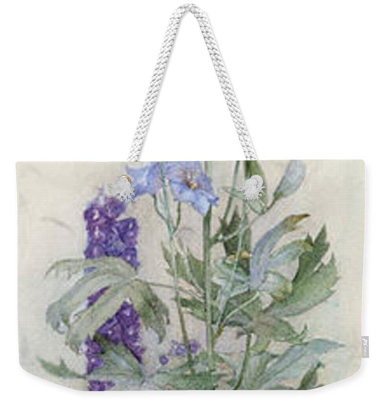 James Valentine Jelley Weekender Tote Bag featuring the painting Delphiniums by James Valentine Jelley