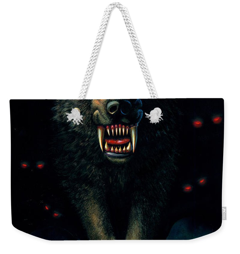 Aggressive Weekender Tote Bag featuring the photograph Demon Wolf by MGL Studio - Chris Hiett
