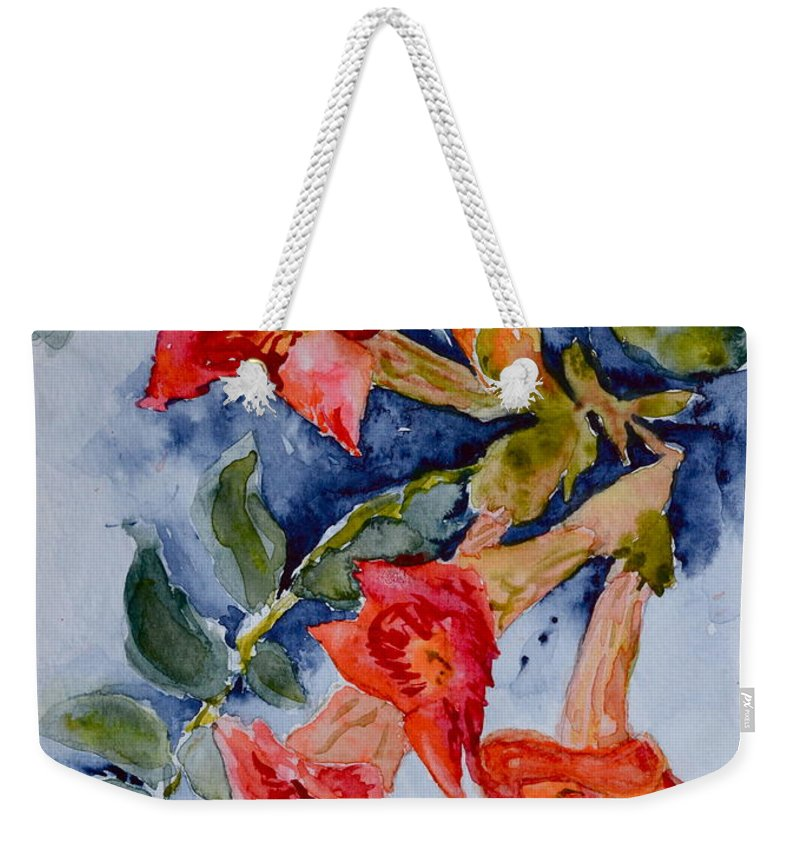 Watercolor Weekender Tote Bag featuring the painting Denim And Brass by Beverley Harper Tinsley