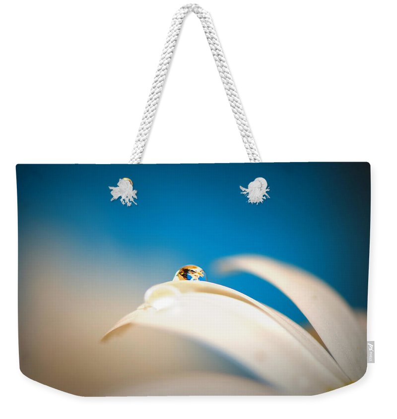 Tranquil Weekender Tote Bag featuring the photograph Denim Daisy Day Dreams by Lisa Knechtel