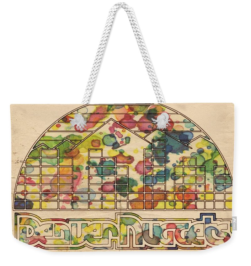 Denver Nuggets Weekender Tote Bag featuring the painting Denver Nuggets Poster Retro by Florian Rodarte