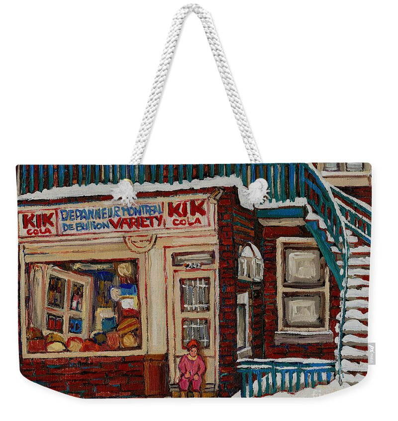 Montreal Depanneur Paintings Weekender Tote Bag featuring the painting Depanneur Kik Cola Montreal by Carole Spandau