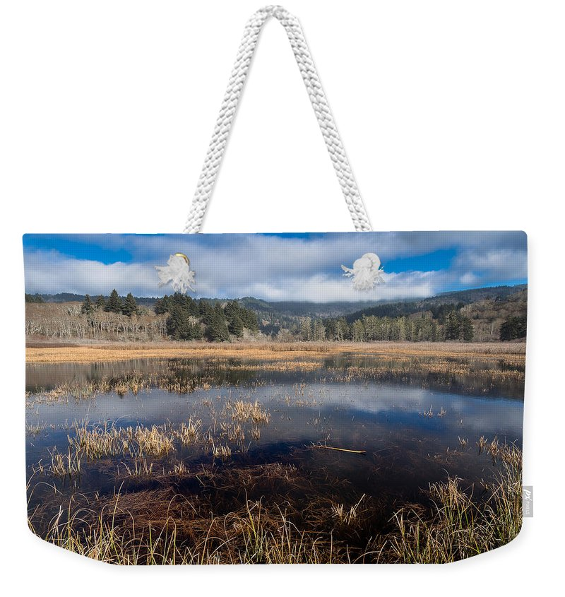 Reflections Weekender Tote Bag featuring the photograph Depths Of Dry Lagoon by Greg Nyquist