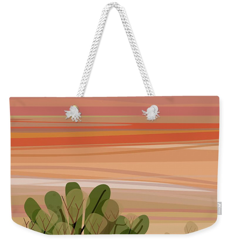 Saguaro Cactus Weekender Tote Bag featuring the photograph Desert, Cactus Brush, Mountains In by Charles Harker