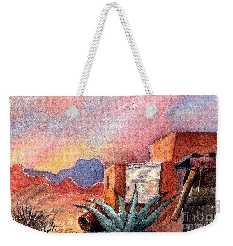 Southwest Painting Weekender Tote Bag featuring the painting Desert Doorway by Marilyn Smith