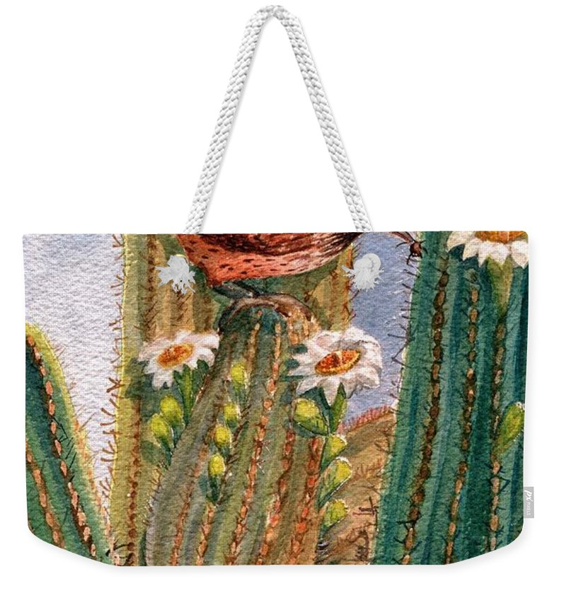 Cactus Wren Weekender Tote Bag featuring the painting Desert Gems by Marilyn Smith