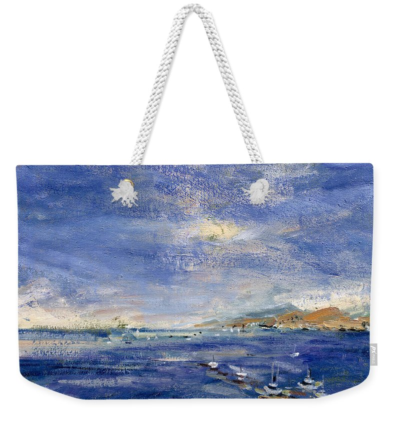 Seascape; Sea Weekender Tote Bag featuring the painting Desert Hills by Patricia Espir