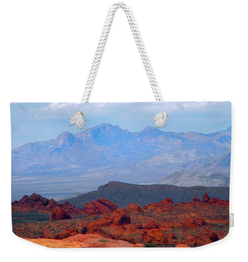Mountains Weekender Tote Bag featuring the photograph Desert Mountain Vista by Frank Wilson