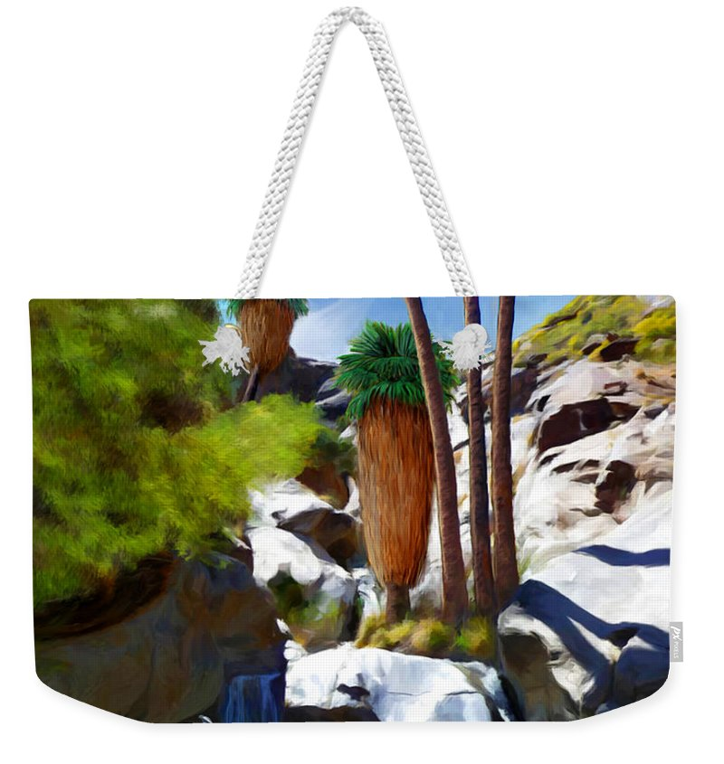 Desert Weekender Tote Bag featuring the painting Desert Paradise by Snake Jagger