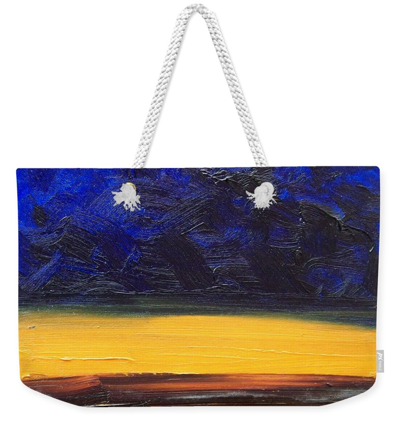 Landscape Weekender Tote Bag featuring the painting Desert plains by Sergey Bezhinets