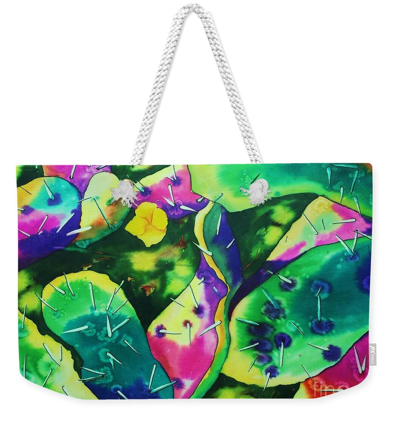 Poppy Weekender Tote Bag featuring the painting Desert Poppy Among The Cactus by Camille Brighten