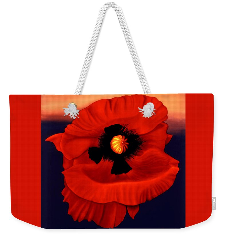 Flower Prints Weekender Tote Bag featuring the painting Desert Poppy by Anni Adkins