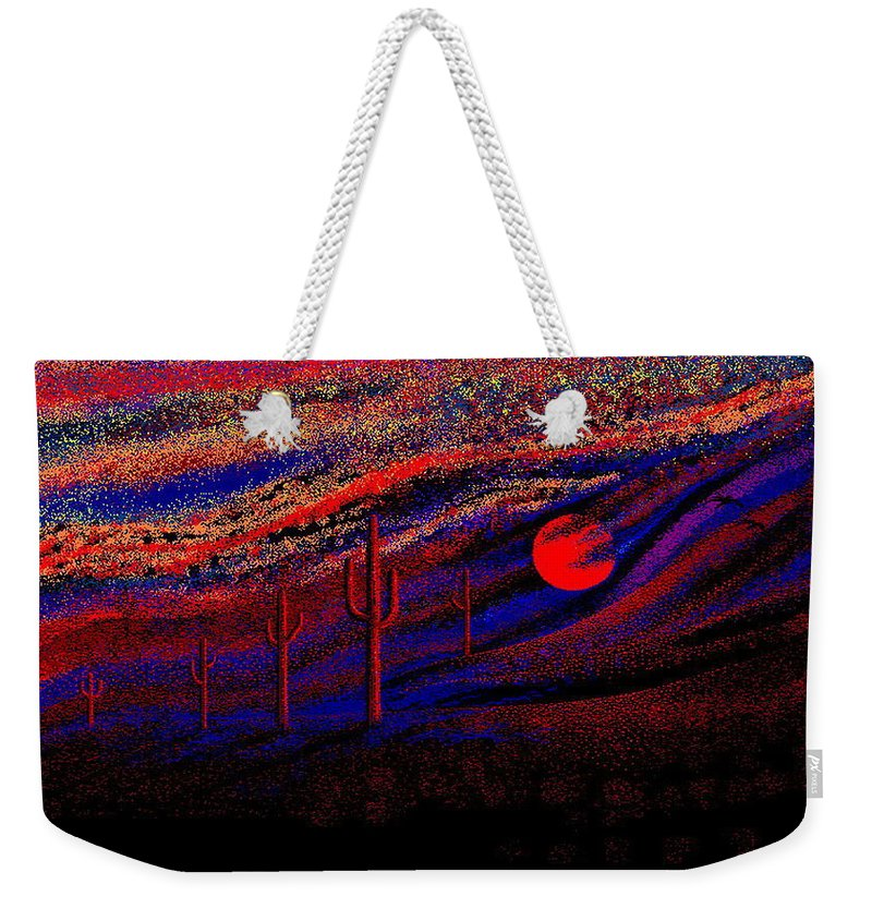 Desert Sunset Quickly Sketched In Four And Half Hours.... Weekender Tote Bag featuring the digital art Desert Sunset by Larry Lehman