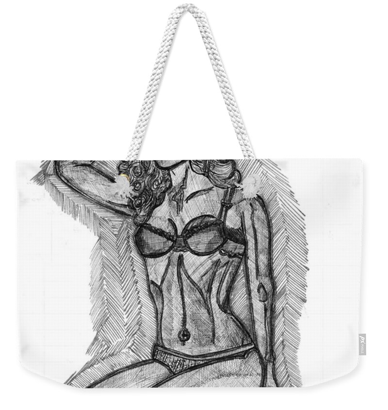 Lady Weekender Tote Bag featuring the painting Desire by Alex Art and Photo