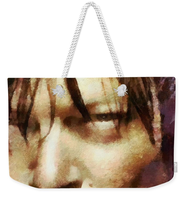 Daryl Dixon Weekender Tote Bag featuring the painting Detail Of Daryl Dixon by Janice MacLellan
