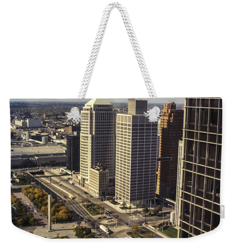 Detroit Michigan City Cities Building Buildings Street Streets Cityscape Cityscapes Weekender Tote Bag featuring the photograph Detroit City Streets Michigan by Bob Phillips