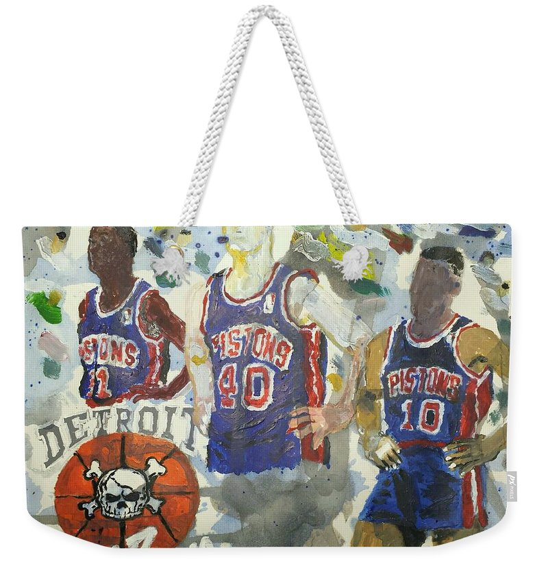 Detroit Weekender Tote Bag featuring the painting Detroit Pistons Bad Boys by Tyrone Scott
