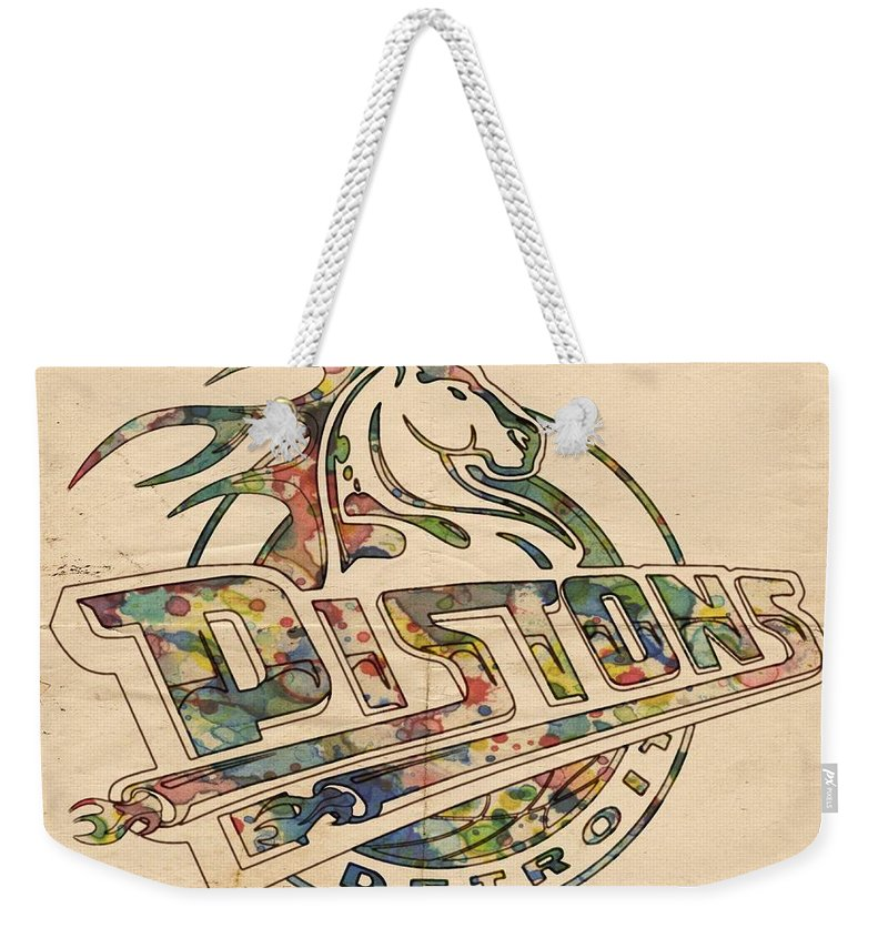Detroit Pistons Weekender Tote Bag featuring the painting Detroit Pistons Retro Poster by Florian Rodarte