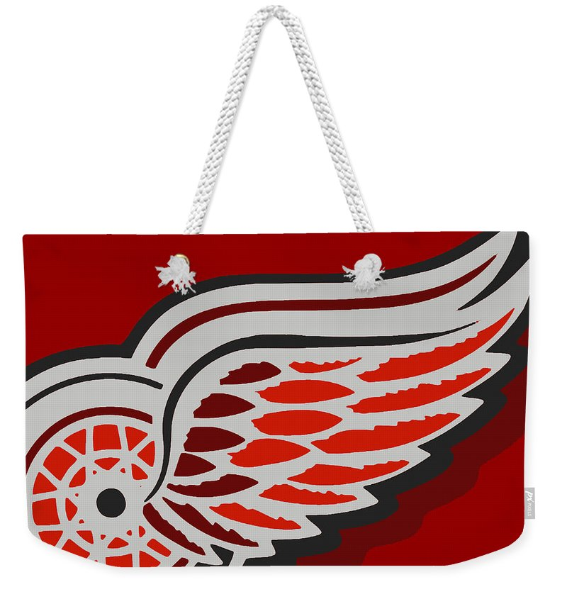 Detroit Weekender Tote Bag featuring the painting Detroit Red Wings by Tony Rubino