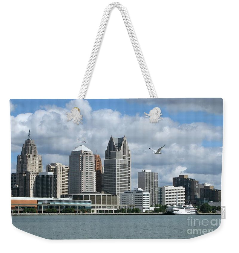 Detroit Weekender Tote Bag featuring the photograph Detroit Riverfront by Ann Horn