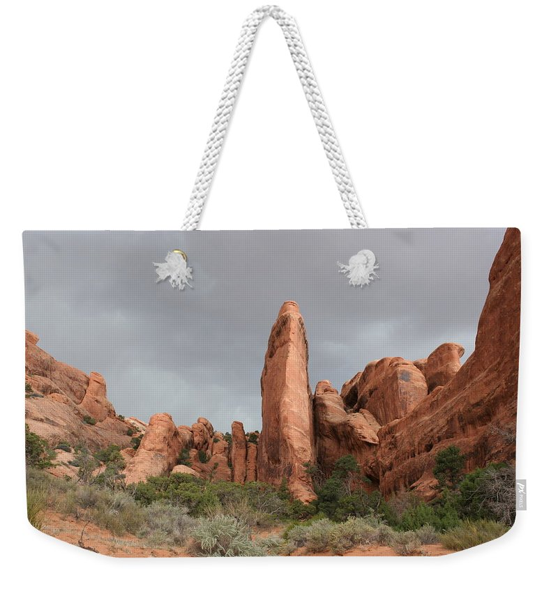Rocks Weekender Tote Bag featuring the photograph Devils Garden Arches Np by Christiane Schulze Art And Photography