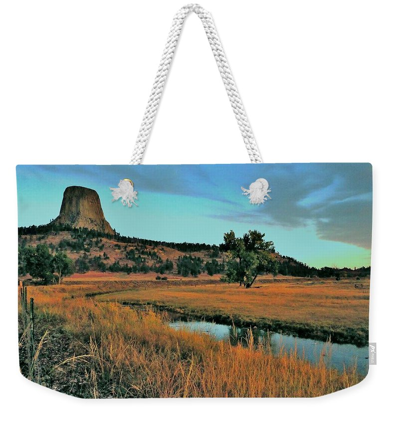 Devils Tower Weekender Tote Bag featuring the photograph Devils Tower Daybreak by Benjamin Yeager