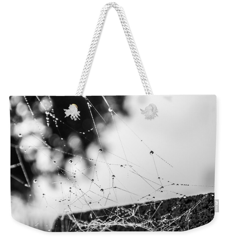 Black Weekender Tote Bag featuring the photograph Dew Covered Web by Anna Burdette