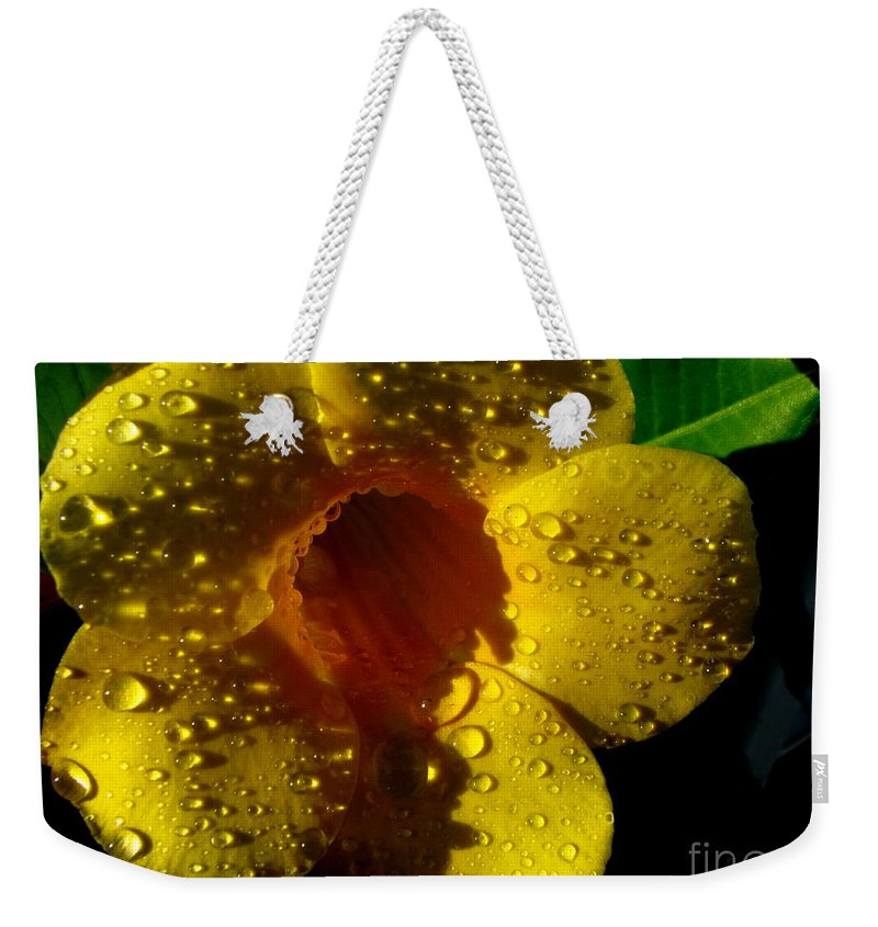 Patzer Weekender Tote Bag featuring the photograph Dew Trumpet by Greg Patzer