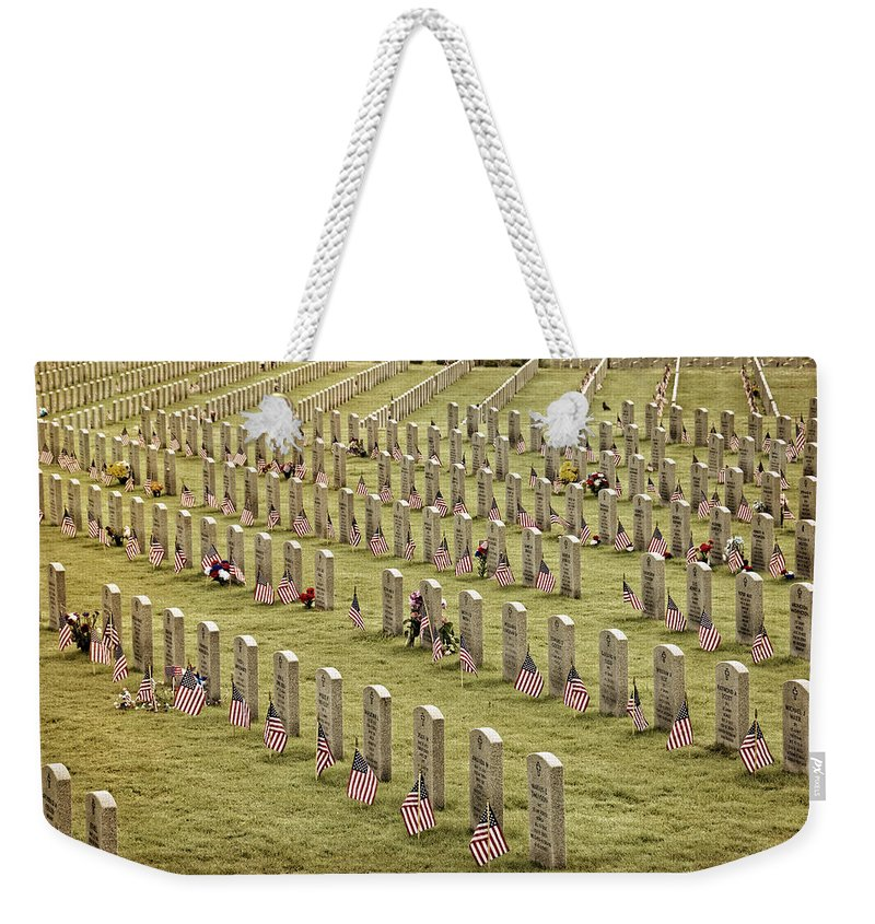 Joan Carroll Weekender Tote Bag featuring the photograph Dfw National Cemetery II by Joan Carroll