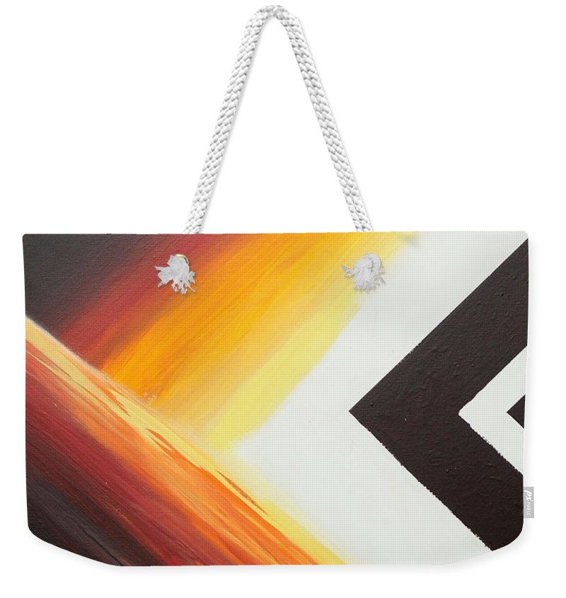 Abstract Weekender Tote Bag featuring the painting Diamond Fire 1 by Debbie Levene