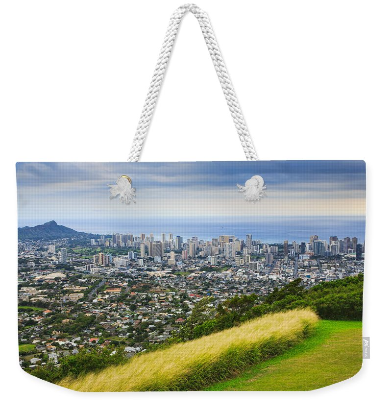 View Weekender Tote Bag featuring the photograph Diamond Head And The City Of Honolulu by Ami Parikh