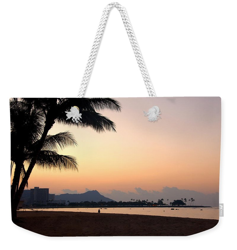 Diamond Head Sunrise Honolulu Oahu Hawaii Beach Seascape Weekender Tote Bag featuring the photograph Diamond Head Sunrise - Honolulu Hawaii by Brian Harig