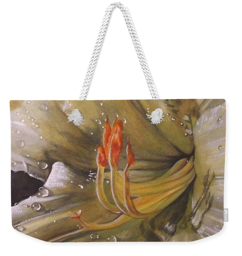 Daylily Weekender Tote Bag featuring the painting Diamonds by Barbara Keith