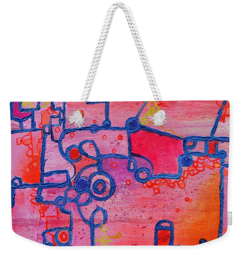 Duality Weekender Tote Bag featuring the painting Dichotomy Original Abstract Oil Painting By Regina Valluzzi by Regina Valluzzi