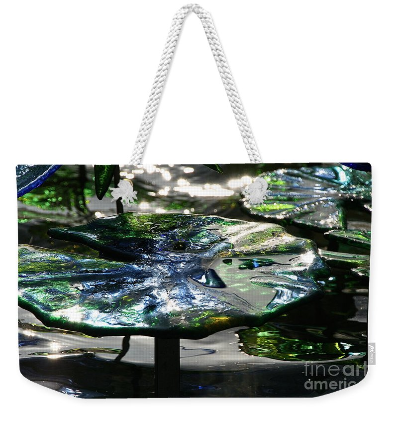 Glass Weekender Tote Bag featuring the photograph Dichromic Lily Pad by Susan Herber