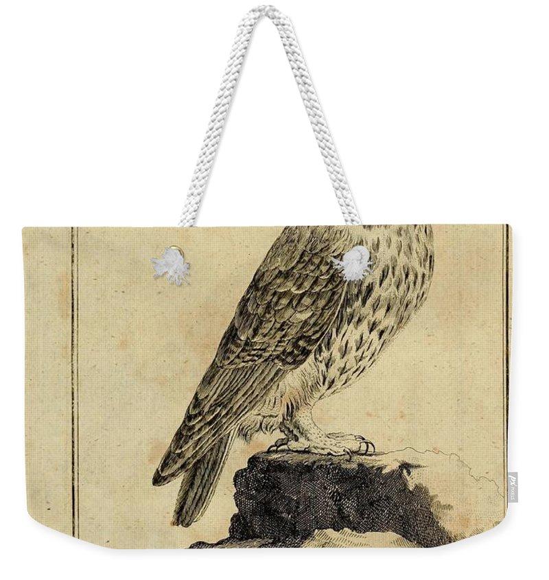 Graue Weekender Tote Bag featuring the drawing Die Graue Eule by Philip Ralley