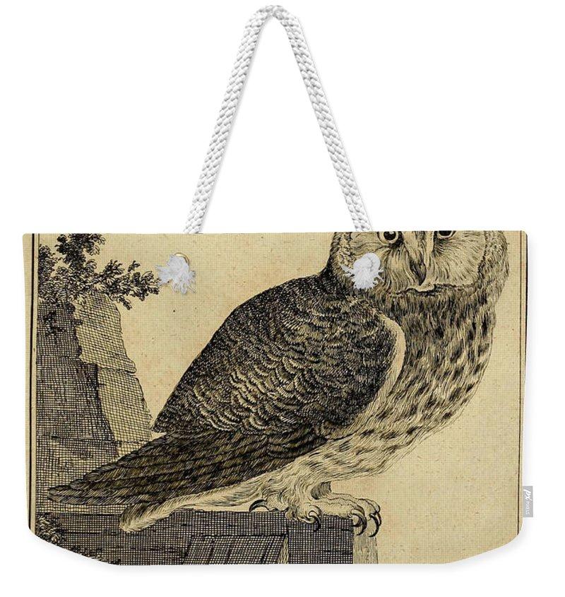 Die Weekender Tote Bag featuring the drawing Die Mittlere Ohreule by Philip Ralley