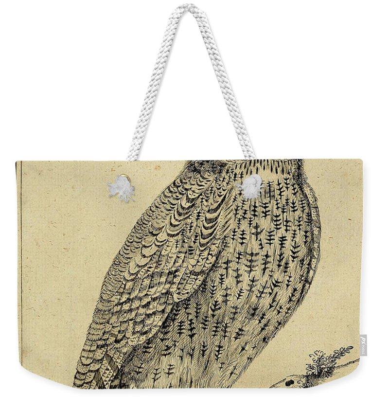 Die Weekender Tote Bag featuring the drawing Die Nacht Eule by Philip Ralley