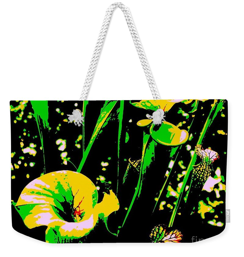 Digital Weekender Tote Bag featuring the photograph Digital Green Yellow Abstract by Eric Schiabor