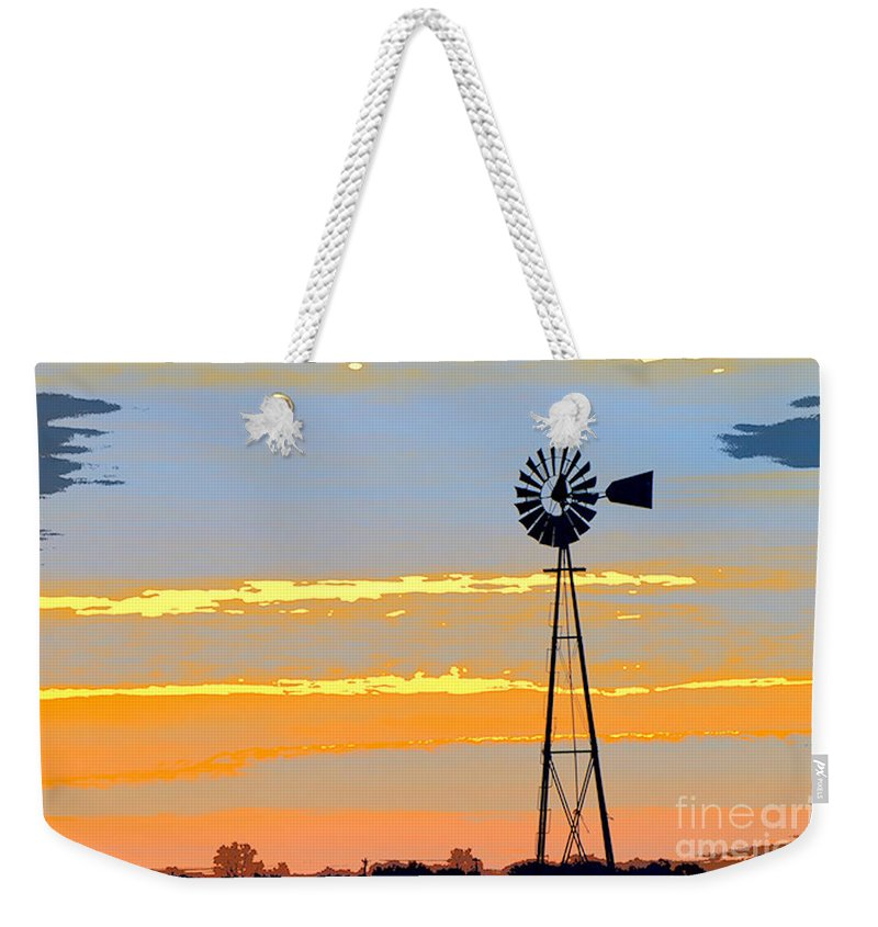 Windmill Weekender Tote Bag featuring the photograph Digital Windmill-horizontal by Gary Richards