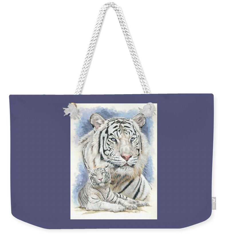Big Cat Weekender Tote Bag featuring the mixed media Dignity by Barbara Keith