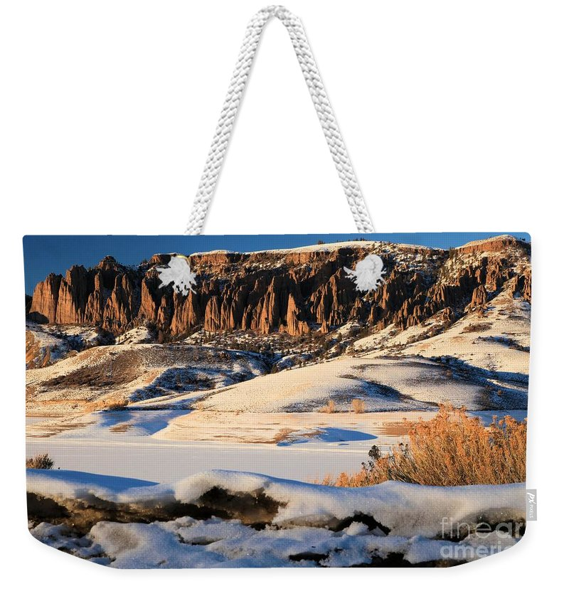 Dillon Pinnacles Weekender Tote Bag featuring the photograph Dillon Pinnacles Sunset by Adam Jewell