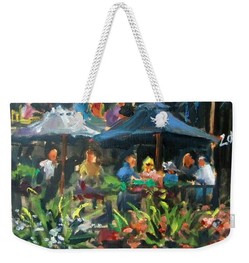 Dining Weekender Tote Bag featuring the painting Dine Out On 4th Street by Mitzi Lai