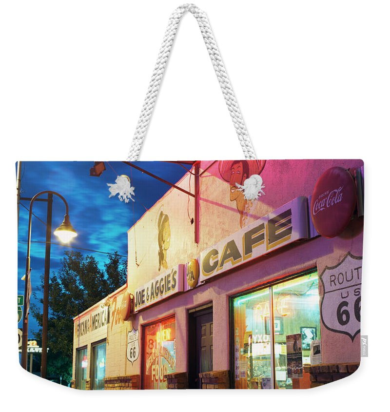 Shadow Weekender Tote Bag featuring the photograph Diner Along Route 66 At Dusk by Gary Yeowell