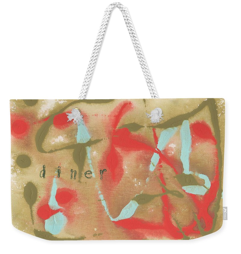 Olive Weekender Tote Bag featuring the painting Diner by Paulette B Wright