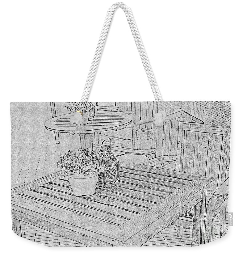Table Weekender Tote Bag featuring the photograph Dining On The Street by Elvis Vaughn