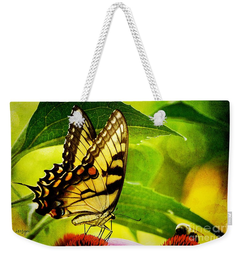Butterfly Weekender Tote Bag featuring the photograph Dining With A Friend by Lois Bryan