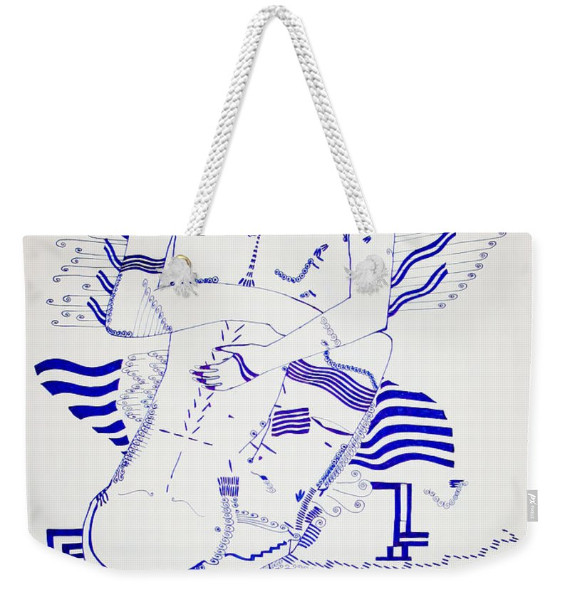 Jesus Weekender Tote Bag featuring the drawing Dinka Embrace - South Sudan by Gloria Ssali
