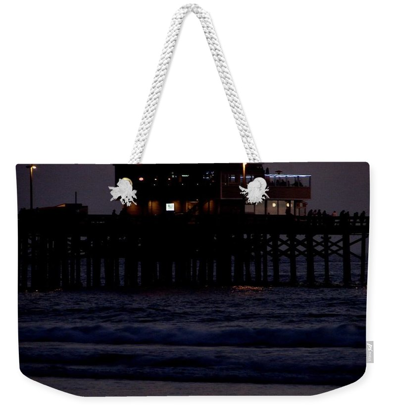Santa Monica Pier Weekender Tote Bag featuring the photograph Dinner At The Pier by Keisha Marshall